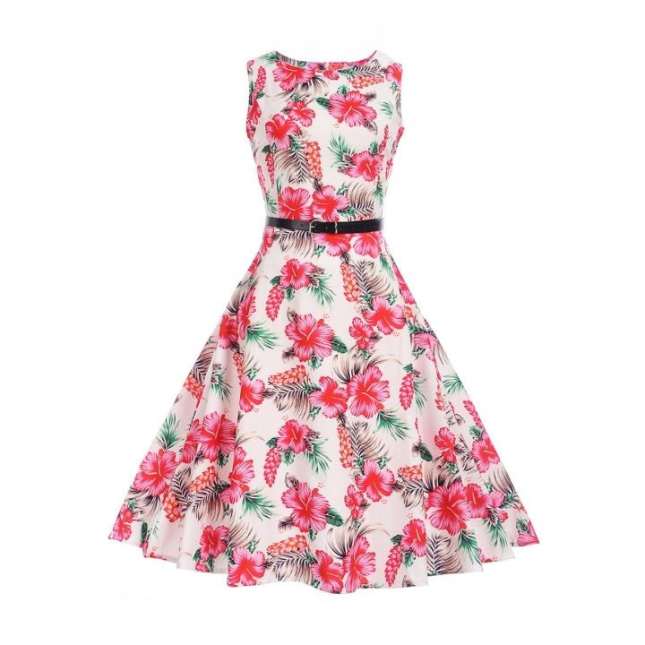MSIN Best selling explosions European and American women's dersses style retro rose print dress tutu s 4