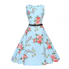 MSIN Best selling explosions European and American women's dersses style retro rose print dress tutu xxl 16