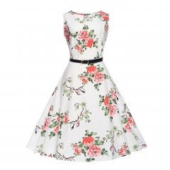 MSIN Best selling explosions European and American women's dersses style retro rose print dress tutu l 18