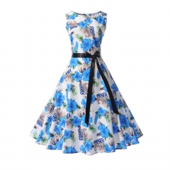 MSIN Best selling explosions European and American women's dersses style retro rose print dress tutu s 35
