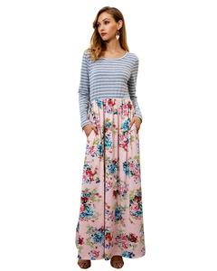 MSIN New Arrival Women Long Sleeve Striped Print Dress Skirt Women's Clothing Dresses xl pink