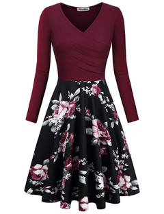 MSIN Women Printed Stitching V-neck Slim Dress With a Large Skirt Women Dresses s wine red