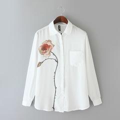 MSIN New Arrival European and American Women's Rose-print Long-sleeved Shirt Chiffon Shirt white xxl
