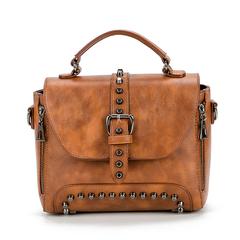 MSIN Crossbody Bags For Women Messenger Bags Vintage Leather Bags Handbags Women Rivet Shoulder brown 25*19*12cm