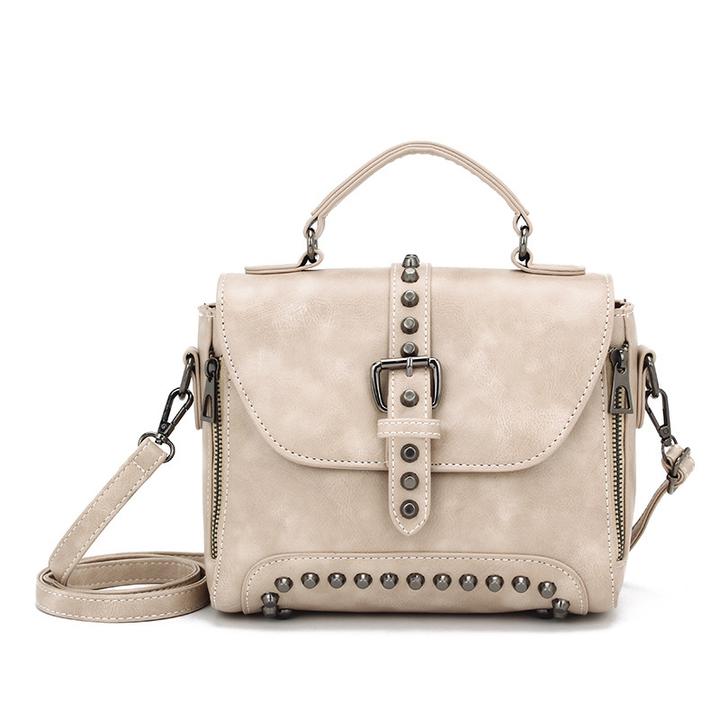 MSIN Crossbody Bags For Women Messenger Bags Vintage Leather Bags Handbags Women Rivet Shoulder beige 25*19*12cm