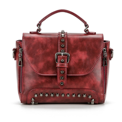 MSIN Crossbody Bags For Women Messenger Bags Vintage Leather Bags Handbags Women Rivet Shoulder red wine 25*19*12cm
