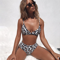 MSIN INS Explosive Swimsuit Leopard Snake High Waist Ladies Bikini New Arrival bikini black s