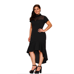 MSIN Europe and America Sexy Mesh Stitching Short Sleeve Irregular Skirt Women Plus Size Dress xl black