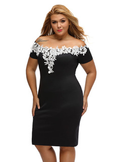 MSIN European and American summer short-sleeved collar  lace strapless sexy bag hipdress xl black