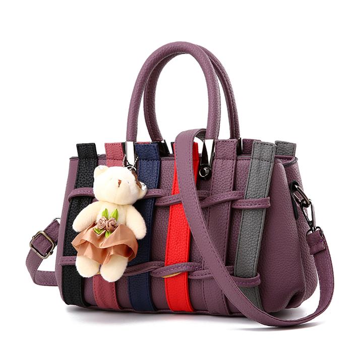 MSIN Women's Bag  Women bags Stereotype Sweet Fashion Handbags Messenger Shoulder Bag purple 27*12*17cm