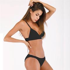 MSIN 2019 New arrival Women's Split Bikini Low Rise Strap Swimsuit black xl