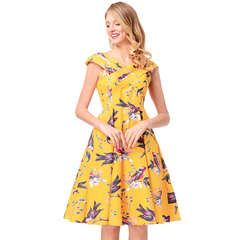 MSIN Bestselling Models New Women's Retro Hepburn Style Big Swing Skirt Print Dress xxl yellow