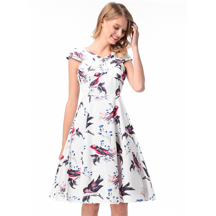 MSIN Bestselling Models New Women's Retro Hepburn Style Big Swing Skirt Print Dress s white