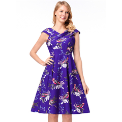 MSIN Bestselling Models New Women's Retro Hepburn Style Big Swing Skirt Print Dress xxl blue