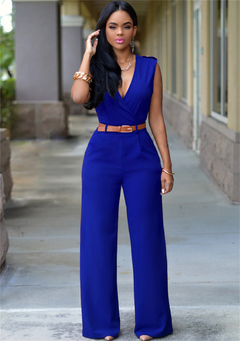 MSIN Women's jumpsuit Explosion High Waist V-neck Wide Leg Pants Irregular Set with Belt dark blue xl
