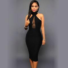 MSIN Best selling women's trade sleeveless hanging neck mesh stitching sexy dress m black