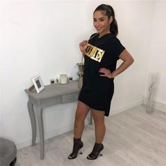 MSIN Round neck short sleeve VOGUE printed pocket dress women's skirt black s