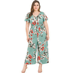 MSIN 1set New lace high waist short sleeve V-neck wide leg large size print one-piece pants suit green&flower xxl