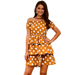 MSIN Short-sleeved high-waist fashion dot print cake skirt yellow s