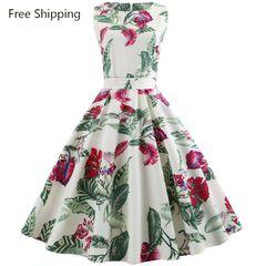 Best selling sleeveless V-neck retro large women dress 6 patterns xxl 42