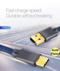 Cowboy Type C Data Cable 2.4A Fast Charging Denim Gold-plated Plug Data Sync USB C Cable Android cowboy blue 180cm