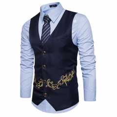 2018 Men's New Embroidery Men's Vest Suit Sina Costume Best Man Business Casual Wedding black l