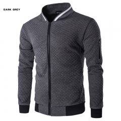 Men's sweater Slim casual sweater jacket baseball uniform motorcycle clothing sportswear coat deep gray xl