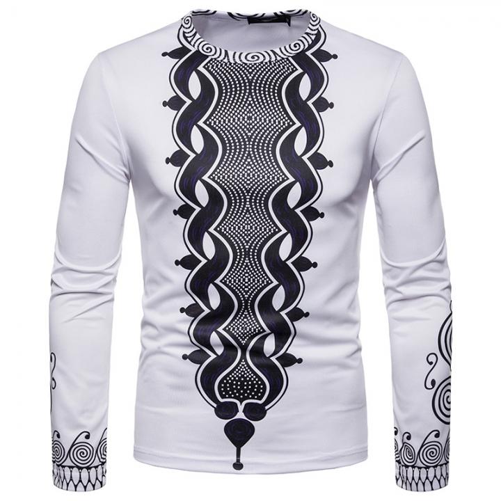 32ef28f52cc Men s Long Sleeve T-Shirt Men s Casual Fashion Slim Jacket Men s National  Style Print T