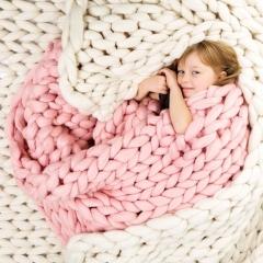 Women Coarse Wool Blanket Ultra - Rough Hand - Woven Leisure Blankets pink 100*120cm