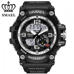 Analog-Digital Watch men sports Waterproof Quartz large dial hours military wristwatches SR one