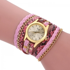 Winding Dress women Bracelet Watch  Vintage style Ladies Quartz Wrist Watch pink
