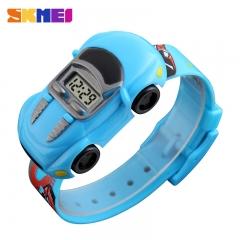 Children Cartoon Creative Digital Watches Kids Fashion Car Black Outdoor Wristwatches Light Blue