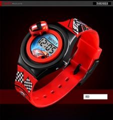 Cartoon Car Children's Watch Fashion Digital Electronic Creative  Student Watch red