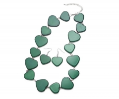 Heart Necklace and Earring Set green 15