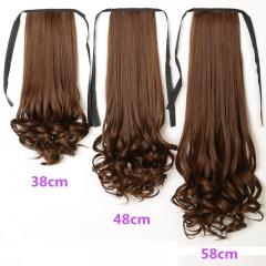 chinacbec bandage wig Long Curls Hair horse tail Natural black 38cm