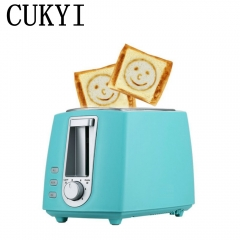 CUKYI 2 Slices Bread Toaster  household automatic toaster Breakfast spit driver  Breakfast Machine blue