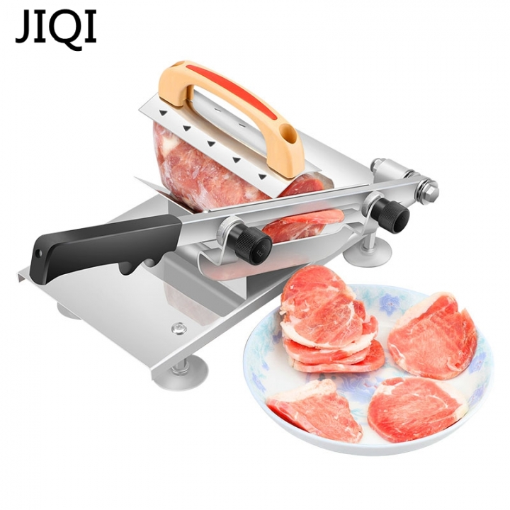 JIQI Meat slicing machine Stainless steel  Manual Thickness adjustable meat  vegetables slicer silver 47cm x 25cm x 12cm