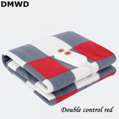 DMWD Adjustable Temp Controlled Electric Blanket Waterproof Fabric Single/Double Control Interface double control red
