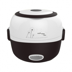 CUKYI Rice Cooker Lunch Box 2 double layers stainless steel Multi-function Food Warmer egg steamer black