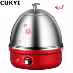 CUKYI 7 Eggs Diverse Colors Multifunctional Electric Boiler Stainless Steel Mini Steamer red