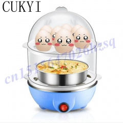 CUKYI New Generic Multi-functional Double-Layer Electric Eggs Boiler Cooker Steamer Home Kitchen Use blue