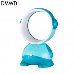 DMWD No leaf Fan USB student dormitory Mini leafless desk fan Safe for baby children USB charging blue