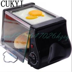 CUKYI Mini Two in one breakfast machine Electric Oven&Flambe pan Breakfast maker  Fry eggs black 24cm x 17cm x 16cm 220w