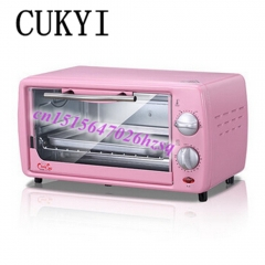 CUKYI mini pizza oven baking pink mini time-controlled 12L pull down the door good quality oven pink 42cm x 27cm x 32cm 650w