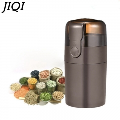 JIQI Powerful Electric Coffee Grinder Mini Kitchen Spice Nuts Coffee Bean Grinder Retractable cable brown