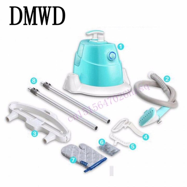 DMWD Steam Ironing Double rod hanging ironing machine household mini steam ironing clothes iron blue
