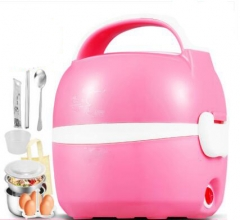 CUKYI Electric heating lunch box Double deck stainless steel electric boxesThermal insulation pink