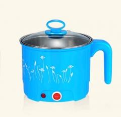 DMWD Electric Skillet Stainless Steel Hot pot noodles rice Cooker Steamed egg Soup pot MINI pan blue