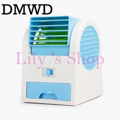 DMWD Usb battery mini Conditioner cooling fan desktop Bladeless air conditioning fans Humidification blue