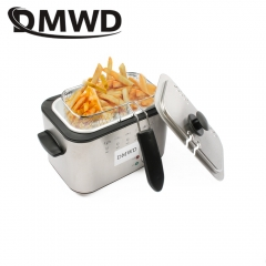 DMWD Stainless Steel Single tank Electric deep fryer smokeless Fries Chicken grill  MINI hotpot oven Single Tank